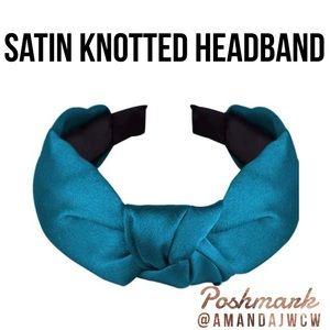 """Silk Cross Knot Twist Headband - Vibrant Teal - 1"""""""